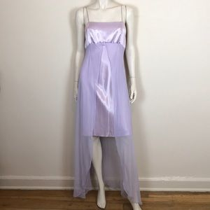 Vintage 90s lavender satin chiffon dress chemise